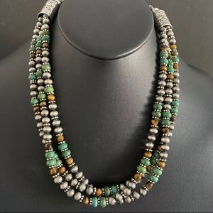 Jewelry - S.S.MultiStrand Turquoise Tiger's Eye BeadNecklace